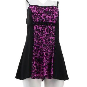 Fit 4u Bella Rosa pink and black swim dress